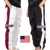 US Men Casual Sport Pants Hip Hop Reflective Long Trousers Gym Jogging Tracksuit
