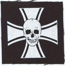 IRON CROSS & SKULL - CLOTH PATCH - sew on, punk **FREE SHIPPING**
