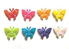 100 pcs mix assorted colors cute Shiny Butterfly Padded Appliques 8 colors