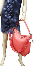 COACH BAG GENUINE LEATHER LARGE HOBO HANDBAG AUTHENTIC CORAL RED