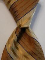 VALENTINO Men's Silk Necktie ITALY Luxury Designer STRIPED Yellow/Brown/Blue EUC