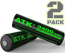 3.7v 18650 Battery | 3400 mAh Li-ion Rechargeable Batteries (2-Pack)