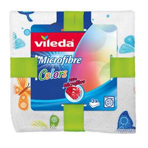 3 X Vileda Microfibre Cloths All Purpose - Colour Designs - 100% Microfiber