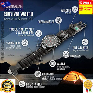 16 in 1 Paracord Survival Watch Bracelet Compass Flint Fire Starter Thermometer