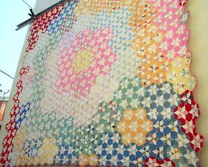 Vtg 30's Hexagon Star Tumbling Quilt Hand stitched Scalloped edge flower garden
