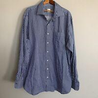 Peter Millar Nanoluxe Mens Blue Striped Button Front L/S Casual Shirt Sz XL