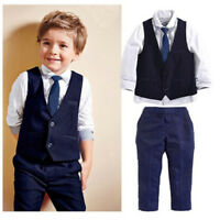 Boys 4x/set Suit Jacket Waistcoat Trousers Shirt & Tie Age 1-7 Years Formal Best