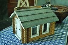 Antique / Vintage Handmade Folk-Art Miniature Wooden Log Cabin Doll House