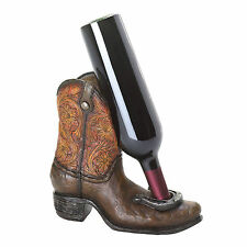 Lucky Cowboy Boot Horseshoe Wine Bottle Holder Western Bar Decor 16833