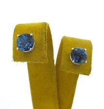 2.5 ct tw Blue Topaz Round Cut 14k White Gold Stud EARRINGS