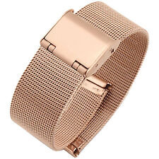 Rose Gold Stainless Steel Band Milanese Mesh Watch Strap 16mm 18mm 20mm 22mm