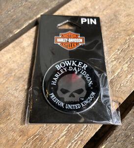 HARLEY DAVIDSON Dealership Collectors Motorcycle Skull Pin Badge Preston ENGLAND