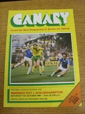 11/10/1980 Norwich City v Wolverhampton Wanderers  (the item is in good/very goo