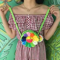 Hot TAKASHI MURAKAMI Rainbow Flower Plush Crossbody Shoulder Bag Messenger bag