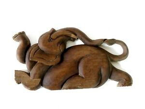 """Old Antique Wood Carve """"Elephant"""" From Thailand Cheap!!!!"""