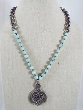 Blue/Green Bead Pendant Fish Flower Necklace Rolo Chain Silver Tone Asian Look