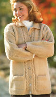 """Ladies Chunky Cable Jacket Collar Pocket 32"""" - 42"""" - Easy Knitting Pattern"""