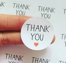 30 Thank You Simple Heart Circle Packaging Labels Stickers Cute Purchase Order