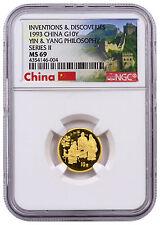 1993 China Inventions Discoveries Yin & Yang 1/10 oz Gold ¥10 NGC MS69 SKU42718