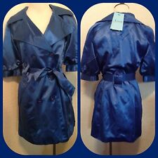 new $178 MARCIANO  GUESS SATIN BLUE TRENCH JACKET COAT top size M sold out