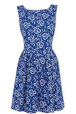 Women's Blue Flower Cut Out Back Sun Dress 16