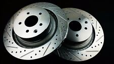 P2M Zinc Coated Slotted Drilled Rear Brake Rotors 370Z Z34 G37 V37 Akebono New