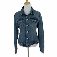 Express X2 Denim Laboratory Jean Jacket Women's Size L Button Front Blue Pocket