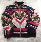 New THREE HEARTS Womens Graphic Print Zip Front Bomber Jacket Top Size XL