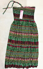 Sommerkleid grün gelb pink blau Strandkleid Kleid Knielang Bandeau 36/38/40 NEU