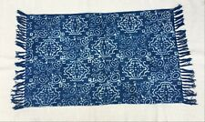 Handmade Block Printed Area Rug Beige White Cotton Kilim Flat weave Durries 3019
