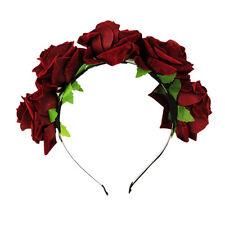 Rose Flower Crown Headband Wedding Festival Garland Hairband Double Row Floral R