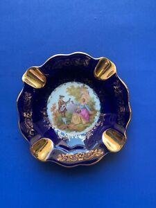 Limoges France Victorian Ashtray - Gold Trim - Antique