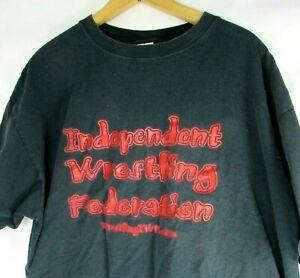 90s VTG Independent Wrestling Federation XXL 2X Black Red T Shirt IWF Nutley NJ