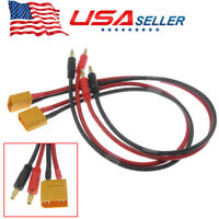 2pcs XT90 Male to 4mm Banana Plug Cable Connector For Lead Battery Charge 12AWG