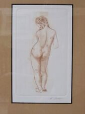 ZUNIGA SIGNED VINTAGE DRAWING STANDING NUDE WOMAN IMPRESSIONISM ETCHING FRAMED