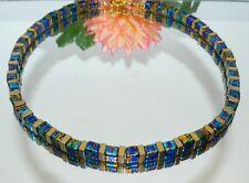 TRAUMHAFT Kette Würfelkette Blau Petrol royal marmoriert Hämatit gold  095zz