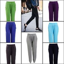 New Women URBAN MIST High Waisted Wide Leg Harem Pants with Pockets Soft Jogger