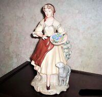 Vintage Romanian Porcelain Large Figurine Sculpture Country Woman Lamb Basket