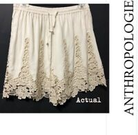 Filigree crochet/Lace Trim shorts Elevenses By Anthropologie