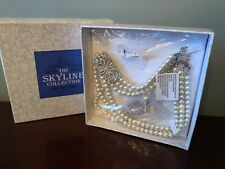 THE SKYLINE COLLECTION Triple Strand Pearl Art Deco Rhinestone Necklace Earrings