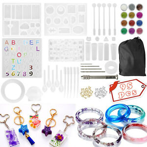 Shynek Silicone Resin Kit with Alphabet Mold Epoxy Resin Keychain Tassels and Pin Vise Set for Resin Casting Keychain Making Resin Keychain Molds