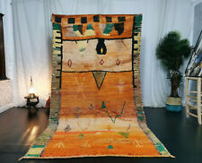 "Moroccan Tribal Boujaad Handmade Carpet 4'9""x9' Berber Abstract Orange Wool Rug"