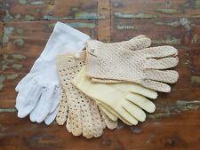 Lot of 4 Pair Vintage Crochet & Mesh Gloves Child Adult Cream Yellow