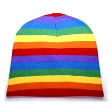 LGBT Retro Punk Winter Ski Snowboarding ~ Rainbow Stripe Pattern Beanie FT399
