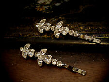 Vintage Style Clear Crystal Silver Hair Pins