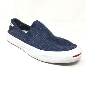 Men's Converse Jack Purcell Slip On Sneakers Shoes Size 7 Blue Casual Stretch