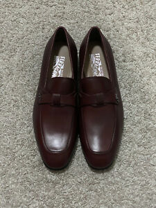 $695 Salvatore Ferragamo Ribery Brown Leather Cross Keeper Loafers US 10EE