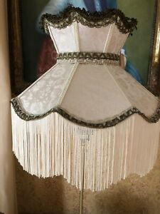 Victorian Traditional Downton Abbey Deco ivory/Gold Brocade Silk Mix Lampshade .