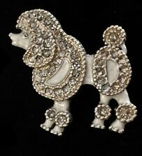 Vintage Groomer Silver Tone White Enamel Sparkle Dog Poodle Pin Brooch Broach