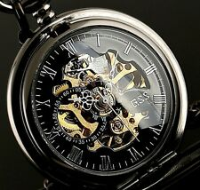 Chain Mechanical Skeleton Black Mens Pocket Watch Steampunk Vintage+Gift Box